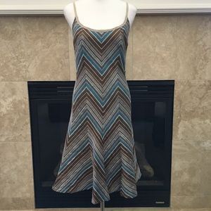 **SOLD**Akris Punto chevron stripe silk midi dress